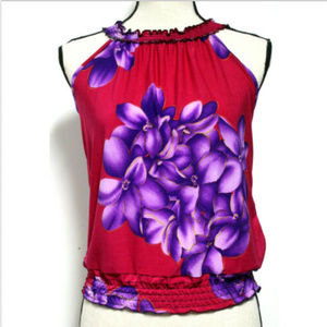 Womens M Red Purple Floral Smocked Top Sleeveless